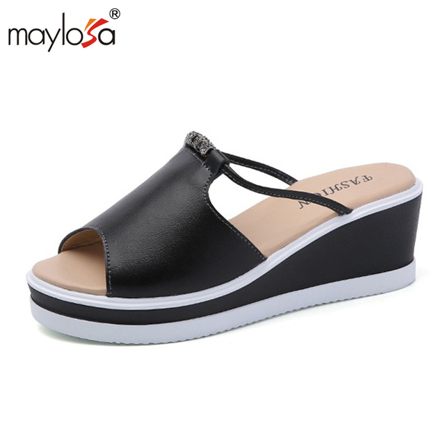 MAYLOSA Summer Slippers Women Slides Sandals Genuine Leather Platform Wedges  Slippers Open Toe Beach Slides Casual