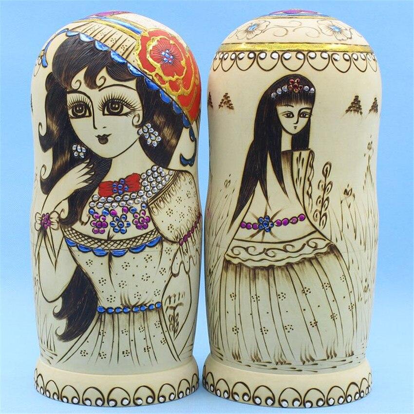 Top qualité 15 couches de tilleul sec poupées russes artisanat ethnique éducation jouets en bois matriochka poupées nidification L30 - 3
