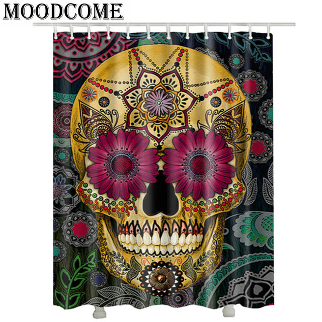 Punk Skull Shower Curtain Rideau En Tissu Vintage Bathroom Polyester