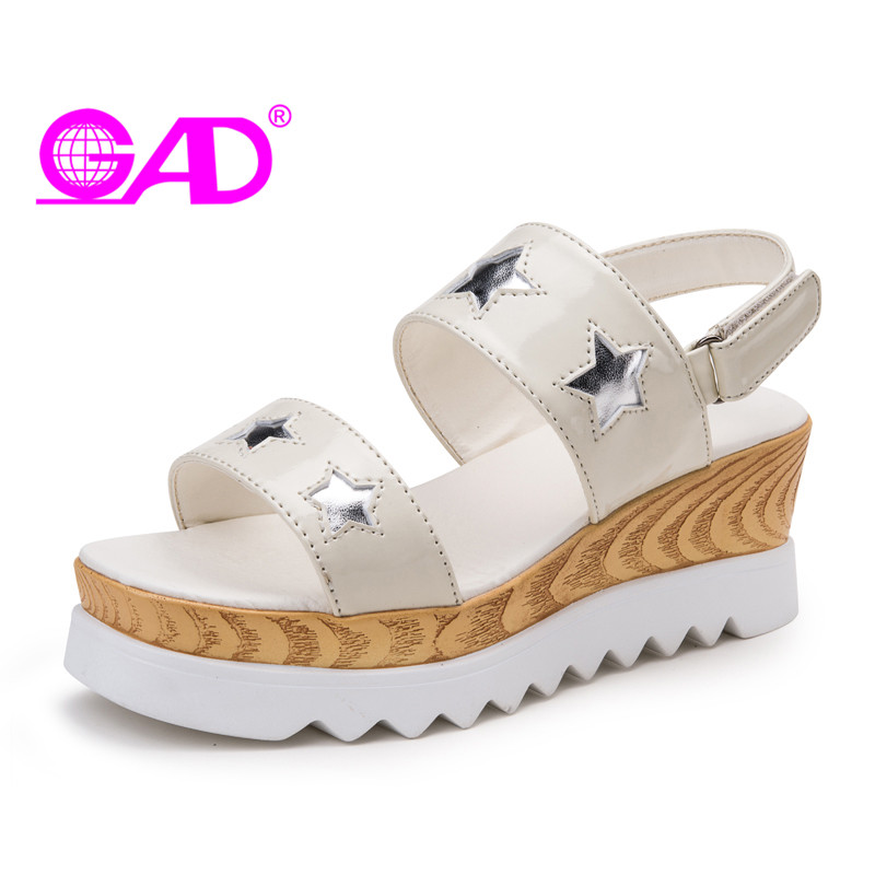 GAD 2017 New Platform Sandals Wedges Thick Sole Women Sandals Gladiator Style Open Toe Summer Shoes Women Fashion Casual Shoes phyanic 2017 gladiator sandals gold silver shoes woman summer platform wedges glitters creepers casual women shoes phy3323