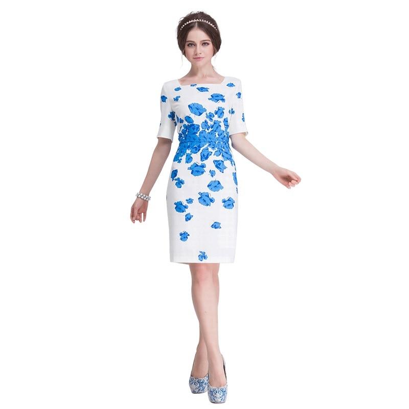 Women Summer Kate Middleton Dresses Short Sleeve Ladies Party Elastic Bodycon Pencil White Blue Elegant Knee Length Dress