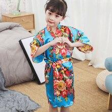Детский халат с принтом для девочек, тонкий дышащий атласный Гладкий ночной халат с поясом на лето