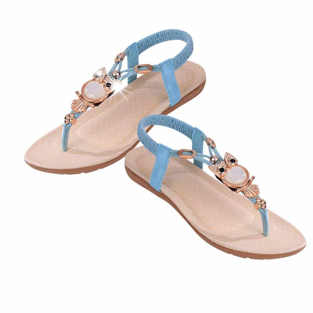 2019 vrouwen sandalen Strass Uil Zoete Sandalen Clip Teen Zachte Bodem Sandalen Zomer Schoenen Vrouwen Strand Sandaal zapatos de mujer