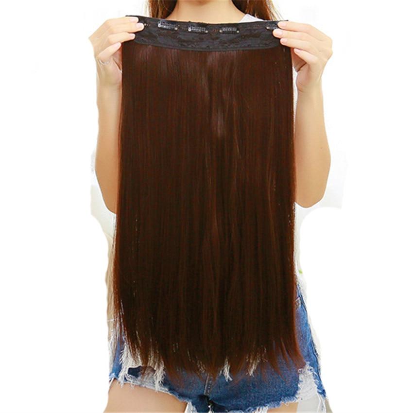 Feibin Clip In Hair Extension Syntetisk Hårstycke Lång 60cm 24 inches Värmebeständig No47 Gratis frakt