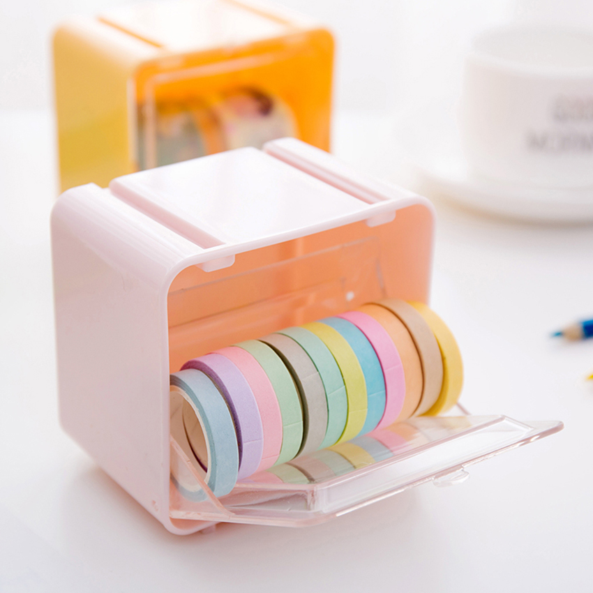 1 PC Japanese Stationery Masking Tape Box Container Tape Storage Organizer Desktop Tape Holder Case DIY Tools Office Supplies