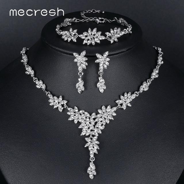 c44c88f4406b € 10.01 |Juegos de joyas de boda de cristal de hoja de Mecresh para mujer,  collar de novia de diamantes de imitación de Color plateado, conjuntos ...