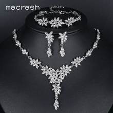Mecresh Leaf Crystal Bridal Wedding Jewelry Sets for Women Silver Color Rhinestone Necklace Earring Sets Jewelry MTL433+MSL204