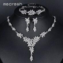 Mecresh листьев Кристалл невесты Ювелирные наборы серебро Цвет ожерелье наборы Свадебные украшения для женщин MTL433 + MSL204