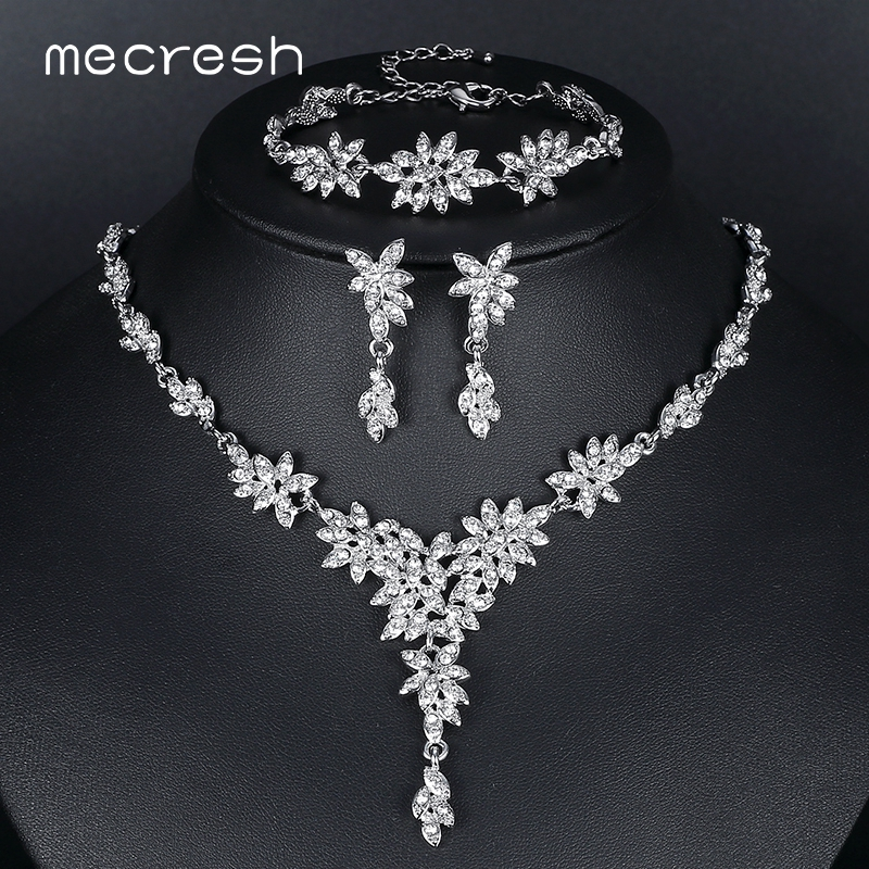 Mecresh Leaf Crystal Wedding Jewelry Sets for Women Silver Color Rhinestone Bridal Necklace Earring Sets Jewelry MTL433+MSL204 mecresh attractive geometric bridal bracelets for women silver color crystal link party ladies pulseras wedding jewelry msl339