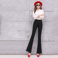 2019 New Spring and Autumn High waist Slim Ladies Lace Casual pants Wide Leg pants Elastic Micro la pants Size S XXL XXXL