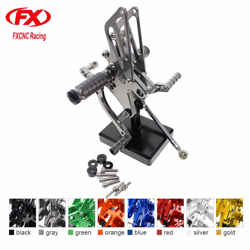 FX CNC Aluminum Adjustable Motorcycle Rearsets Rear Set Foot Pegs Pedal Footrest For KAWASAKI NINJA 250 EXC250 2008 - 2012 2011 for 12 16 kawasaki ninja zx14r zzr1400 zx 14r cnc aluminum adjustable rear set foot pegs pedal footrest rearset 2012 2013 2016