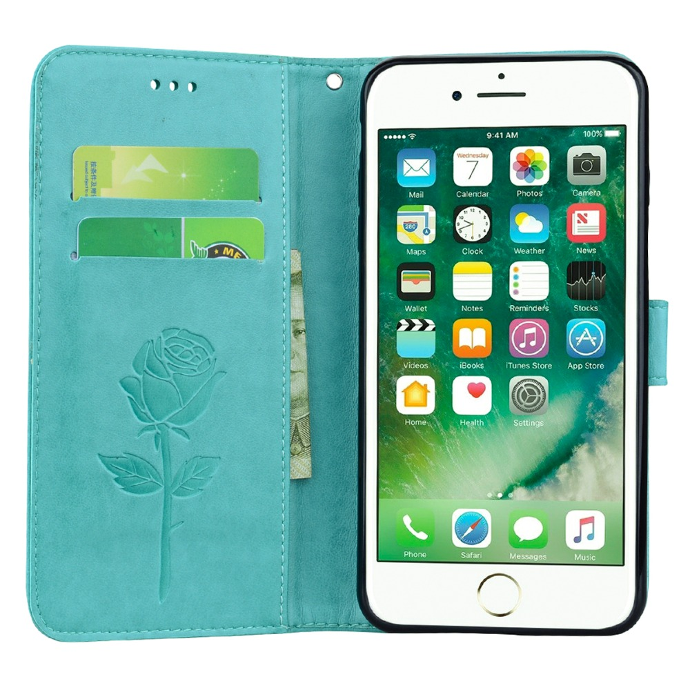 3D Embossed Rose Flower Leather PU+Silicon Wallet Card Slots Case for iPhone 7 8 Plus Phone Stand protective cover
