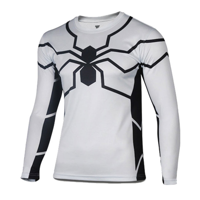 Free shipping America Super Hero white Spiderman cycling jersey Men spring  running sport T shirt bike bicycle wear long sleeves c43964b12