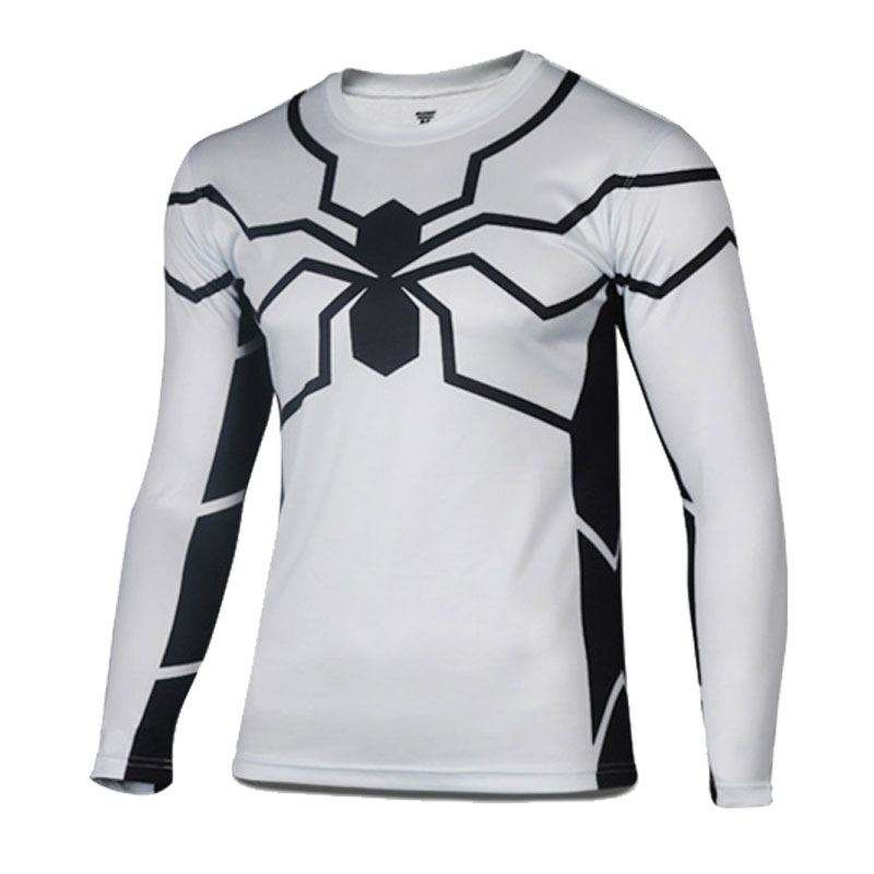 Prix pour Livraison gratuite Amérique Super Hero blanc Spiderman vélo jersey Hommes printemps de course sport T shirt de bicyclette de vélo porter des manches longues