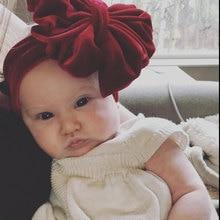 NEW kids Knotted 6inch Big Bow Headband girls pleuche headwraps Jersey Blend Knit cross Velvet turban