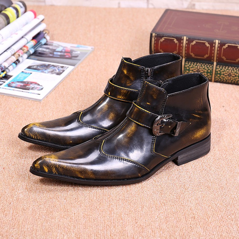 Christia Bella Fashion Genuine Leather Winter Boots Pointed Toe Men Ankle Boots Motorcycle Cowboy Boots Buckle Men Dress Shoes