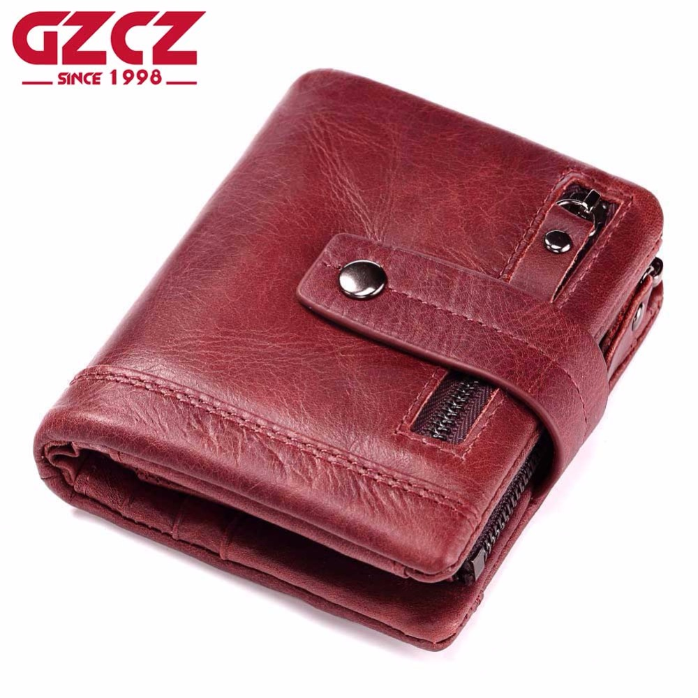 GZCZ Genuine Leather Women Wallet Female Coin Holder Short Woman Walet Portomonee Lady Hasp For Girls Ladies Vallet Pocket
