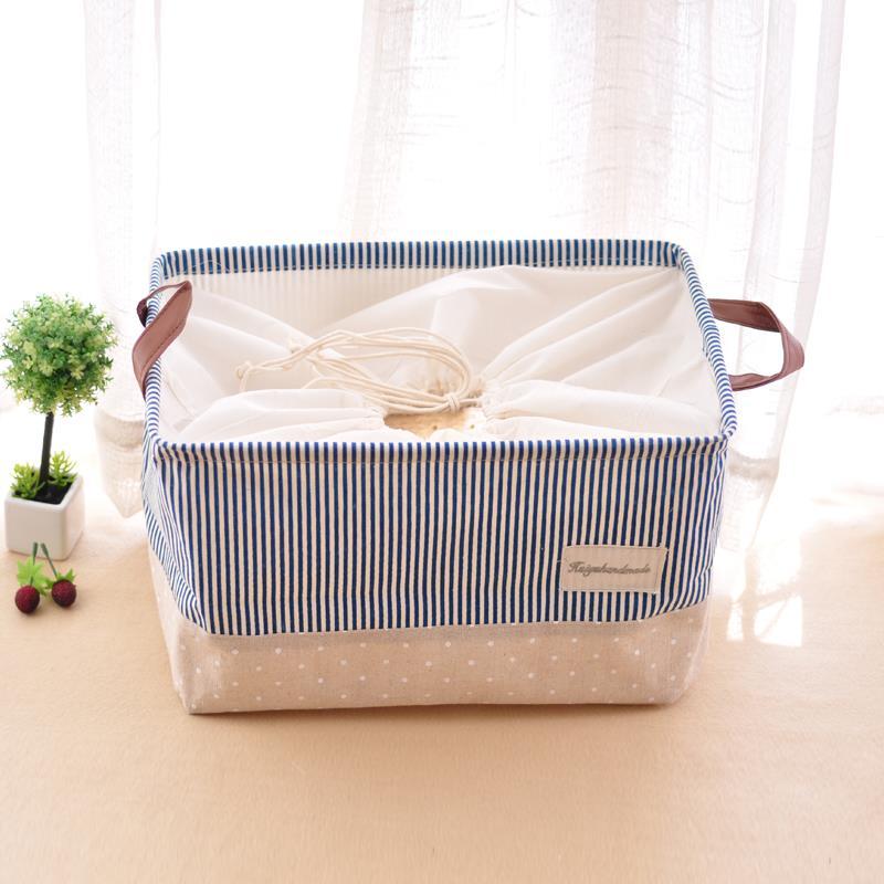 Zakka Style Navy Cotton Underwear Storage Box Stripe Canvas Kids Toys Organizer Basket Clothing Laundry Folding Storage Bags