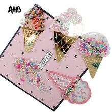 AHB 8CM Ice-cream Sequin Filling Acrylic Fashion Liquid Quicksand Cover For Phone DIY Sequin Ice Cream Patch Cases