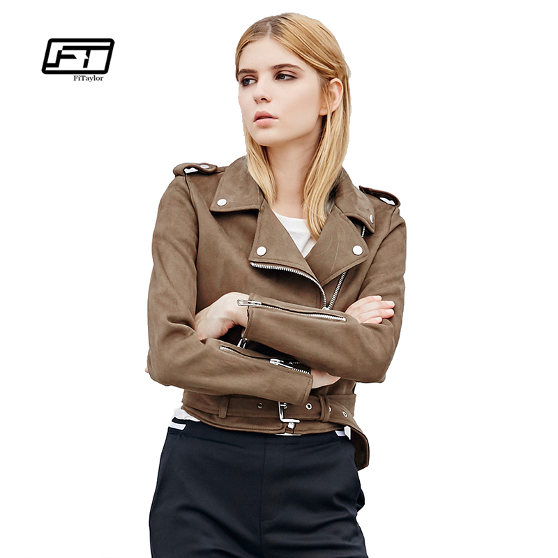 Fitaylor Vjeshtë Gratë Faux Suede xhaketë të hollë PU xhaketë - Veshje për femra - Foto 2