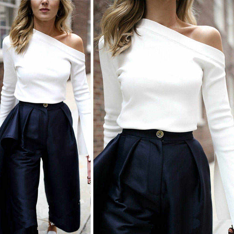 Autumn Winter Women Shirt Split Long Sleeve One Shoulder Solid Color Tops Lady Casual T-shirt 99 XRQ88