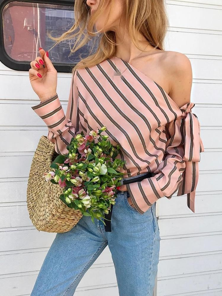 Fashion Stripe Long Sleeve Women Blouse Elegant Office Lady Blouse Casual Off Shoulder Bandage Shirt Top