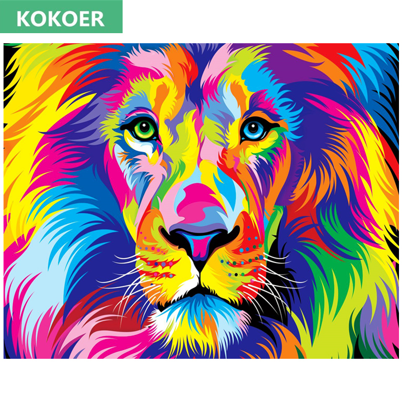 Colorful lion painting - photo#31