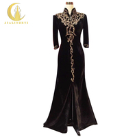 Rhine 100% Real Picture Black Velvet Long Sleeves High Neck With Gold Beads Slit Sexy Floor Length Mother of the bride Dresses