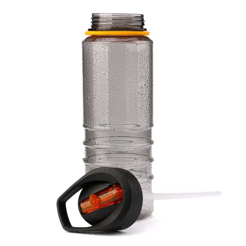 800ml Sport Water Flip Drinks Cycling Hiking Running Hydration Straw Bottle ~