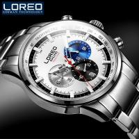 LOREO Brand Luxury Men Watches Luminous Black Full Stainless Steel Waterproof Calendar Casual Fashion Men S