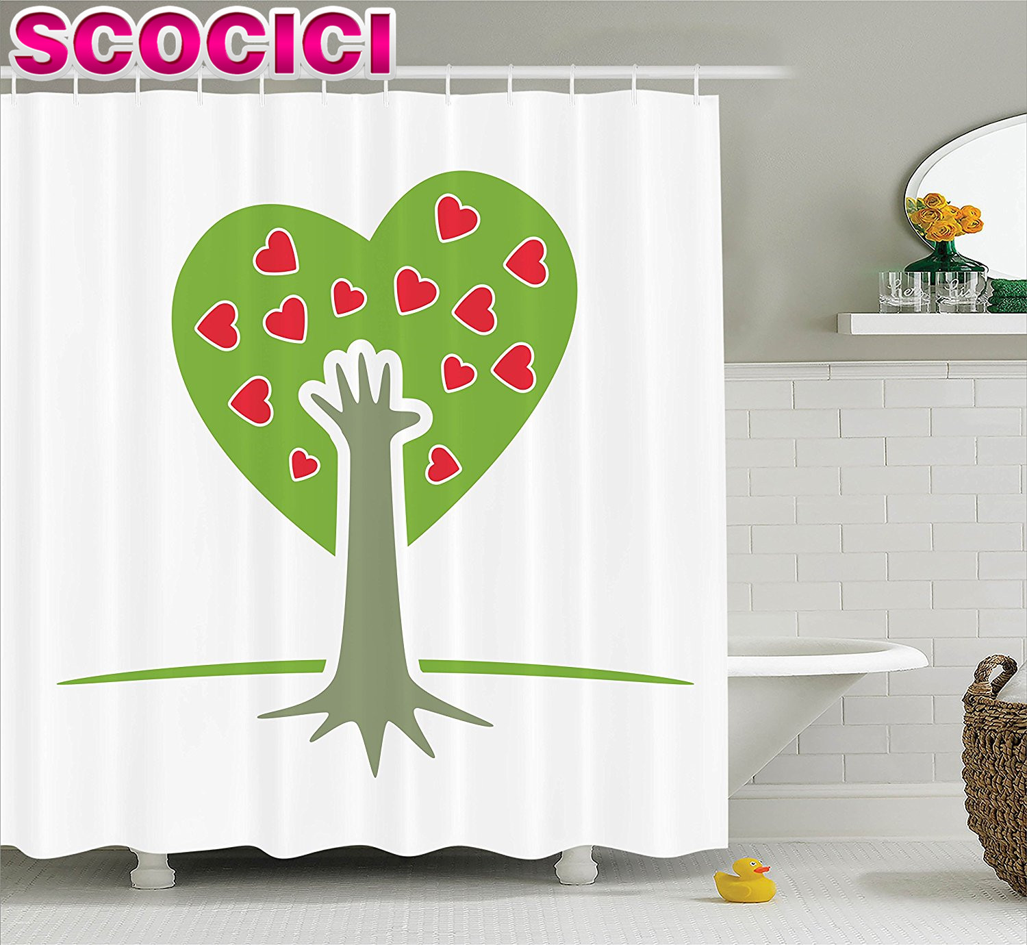 tree of life decor shower curtain set eco friendly cute symbolic tree with hand and heart