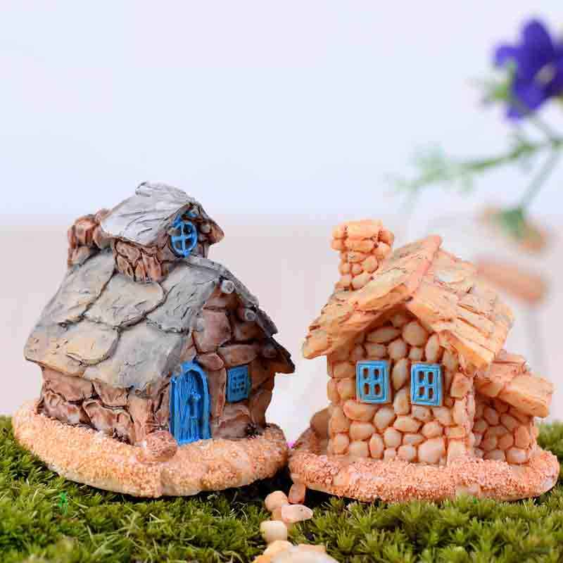 1Pc 9 Style Mini Small Cottages House Fairy Garden Miniatures DIY Ornament Decoration Crafts Figurines Micro Landscape