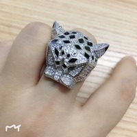 Hot famous brand jewelry black enamel panther ring green eyes leopard finger ring for women men birthday gift party jewelry