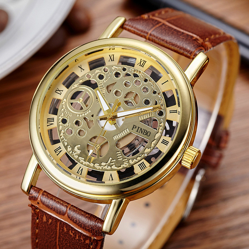 2017 New Brand Luxury Fashion Casual Leather Men Skeleton Watch Women Dress Wristwatch Steel Quartz Hollow Watches Men PINBO-85