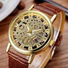 2017 New Brand Luxury Fashion Casual Leather Men Skeleton Watch Women Dress Wristwatch Steel Quartz Hollow