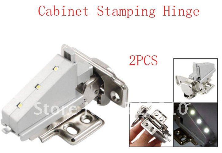 2 Pcs Silver Tone Gray 3 LED Furniture Closet Cabinet Stamping Hinge