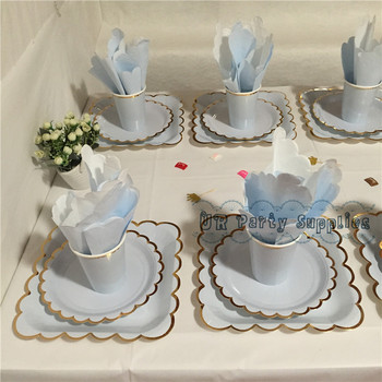 40 Sets Light Blue Foil Gold Party Paper Tableware Paper Plate Cups Napkins Straws Set Pastel Blue Birthday Wedding Supplies