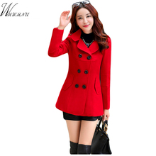 In the spring of 2017 new fashion women's wool coat double breasted coat elegant bodycon cocoon wool long coat tops 5 ss014