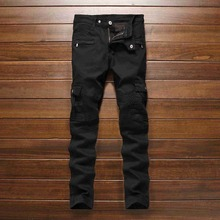 #32552016 Весна Хип-хоп джинсы Узкие Байкеры Moto черные джинсы мужчины Дизайнерские джинсы мужчин высокого качества Мотоцикла брюки Известный бренд