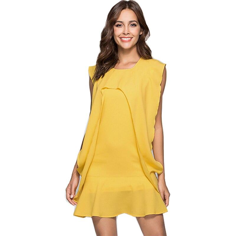 Vestidos Mujer 2018 personalizar cualquier color de patchwork nueva europea costura vestido de gasa de manga corta ropa DY71