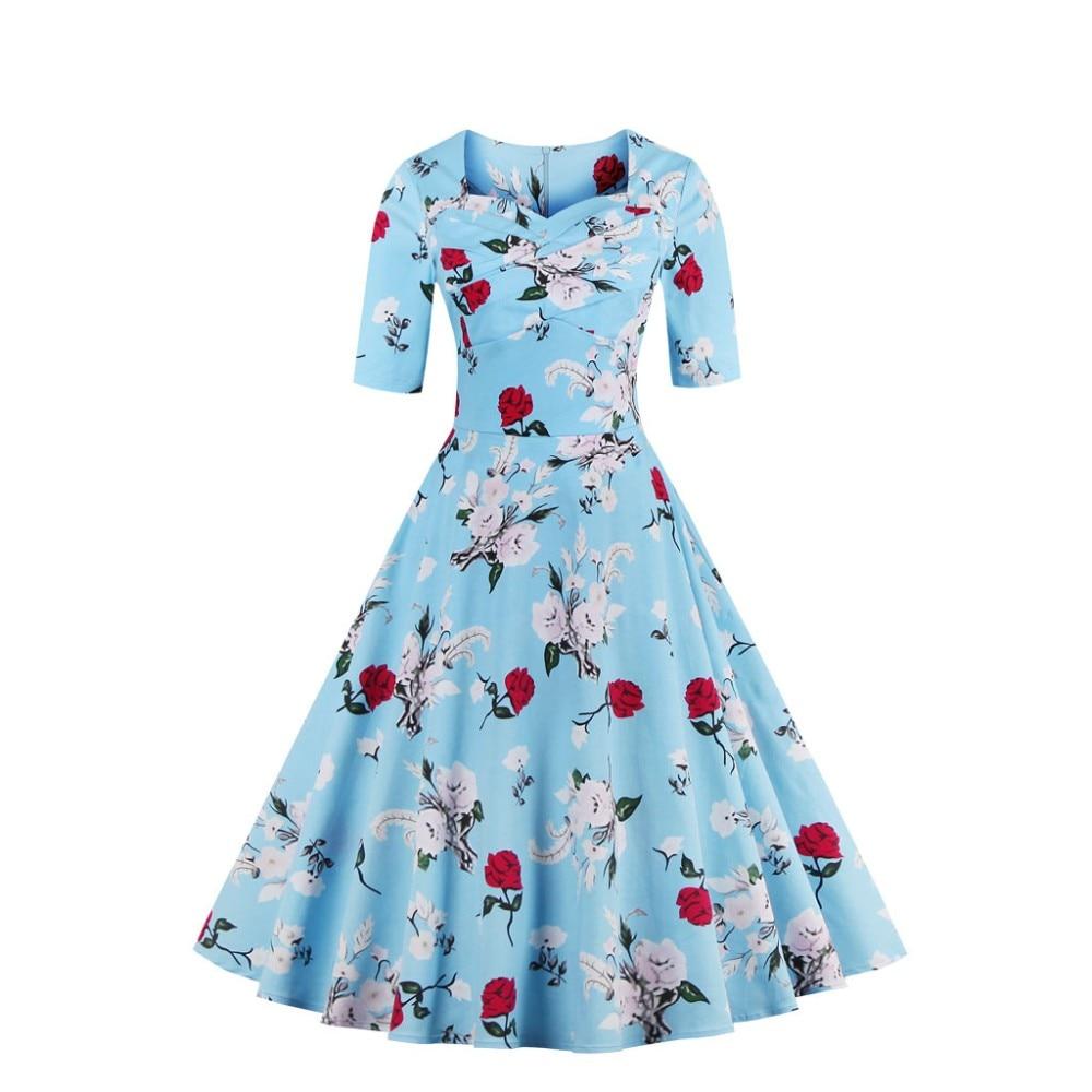 AuraPicco Women\'s Vintage 1950s Floral Print Swing Party Dress ...