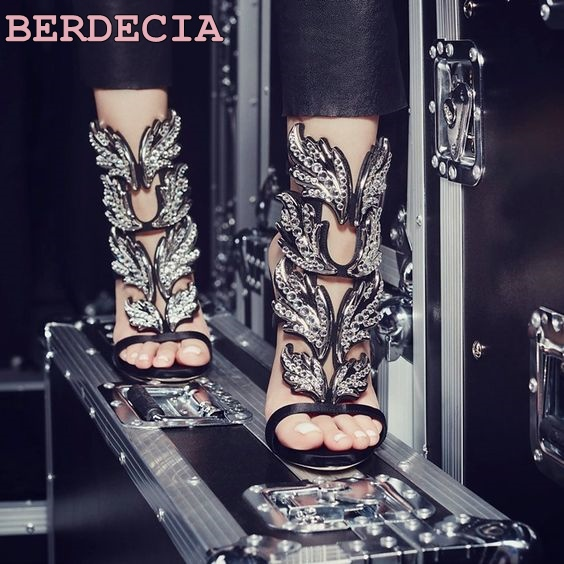 2017 Summer hot selling high heel sandals bling bling crystal embellished cut-outs shoes metallic leaf ankle strap sandals 2017 new arrival abnormal jeweled heels rhinestone crystal embellished high heel sandals ankle strap lock summer party shoes