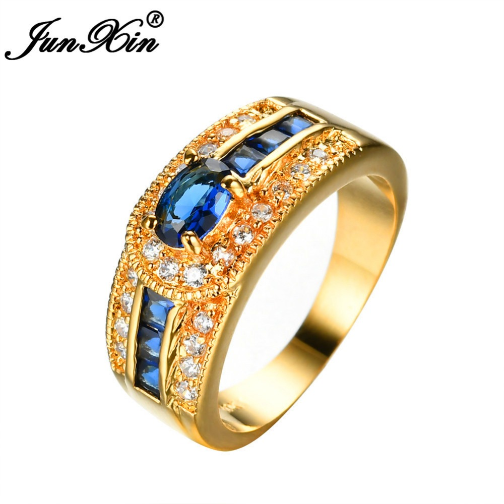 Junxin Men Women Blue Purple Green Zircon Ring Wedding Rings High Quality  Yellow Gold Filled Jewelry