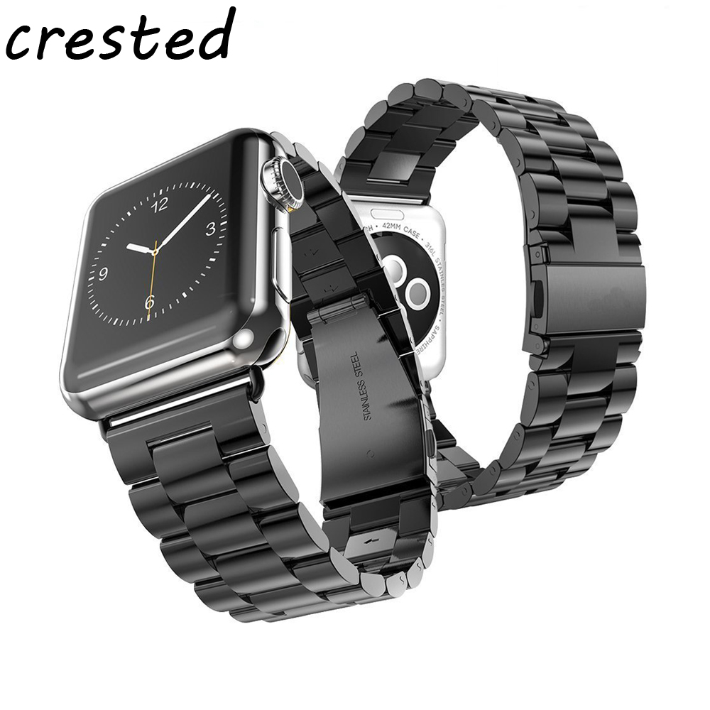 CRESTED stainless steel watch strap for apple watch band 42mm 38mm link bracelet metal watch clasp wrist band for iwatch 3/2/1