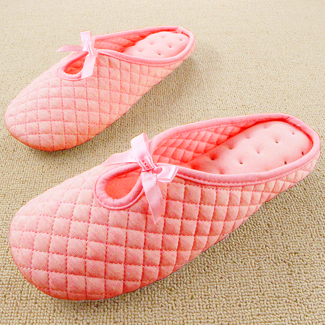 New Cotton Antiskid Pantuflas Cute Bow Pink Slippers Women Indoor Bedroom House Confinement Mujer Shoes