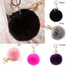 New Wome fluffy Keychain Fox Pompom Key Ring llavero Pom Rabbit Fur Ball Chain Bag Chaveiro Femme Porte clef