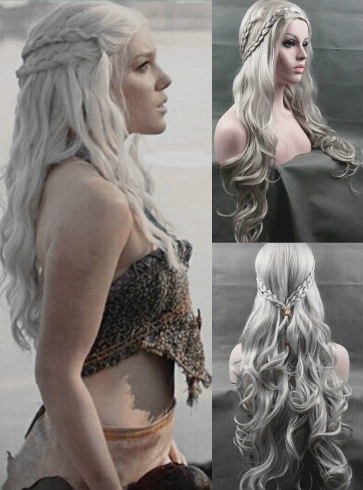 Daenerys Targaryen Silver Wavy Wig Dragon Princess Game Of Thrones Braids Cosplay Wigs Costumes