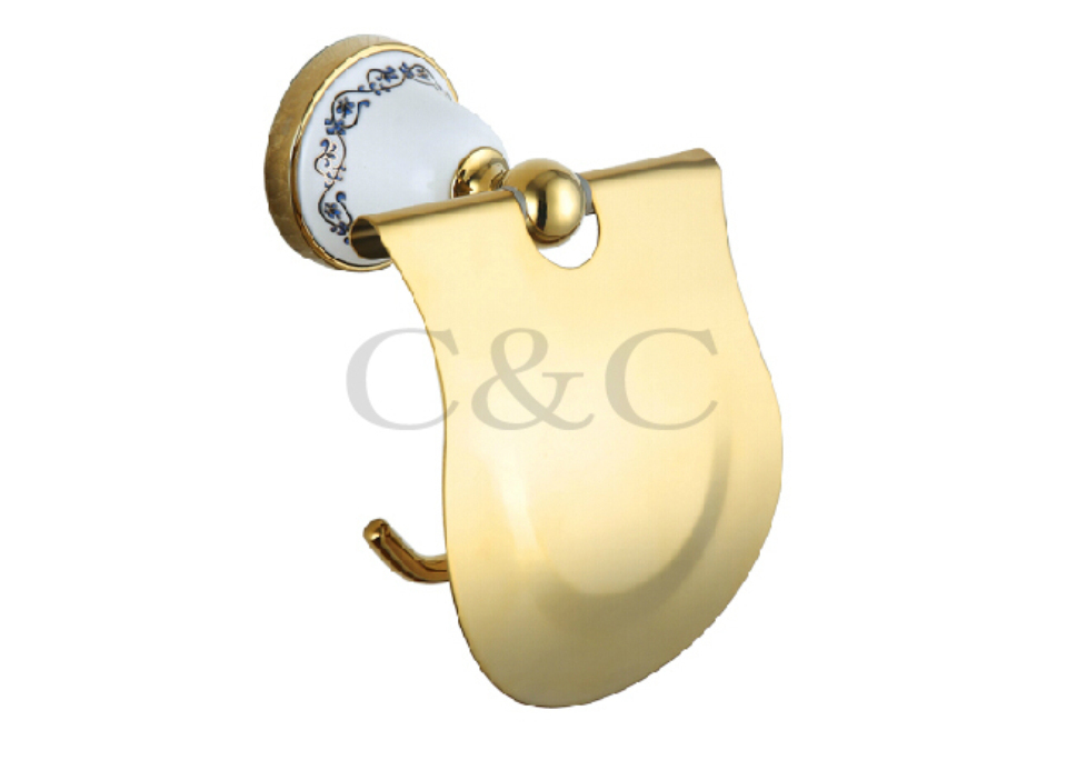 ФОТО Toilet Roll Holder Noble And Elegant Solid Copper And Ceramic Gold Plating Bathroom Paper Holder 3312