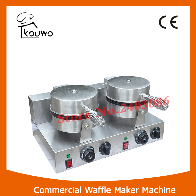 KOUWO CE Approval Electric Heart Shape Commercial Waffle Maker Machine with 2 Plates KW-2207B.2