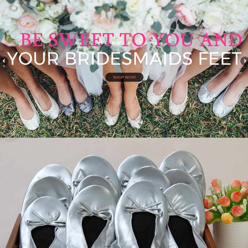 Aohaolee Brides MUST HAVE Wedding Comfy Foldable Ballet Flat Shoes Flip Flop Slipper gifts for bridesmaids to be party supplies